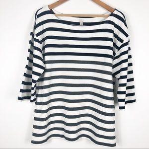 J.Crew | Striped 3/4 Sleeve Top